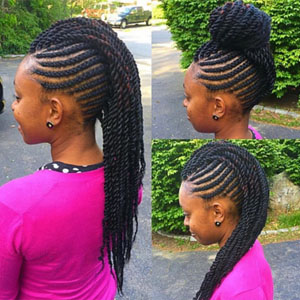 hairstyles for teens braided mohawk bun - Natural Hair Kids
